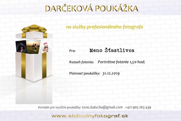 Darčeková poukážka na služby profesionálneho fotografa